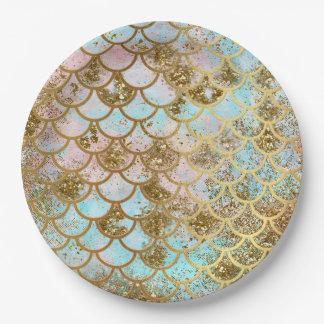 Prato De Papel Escalas de peixes cor-de-rosa iridescentes da