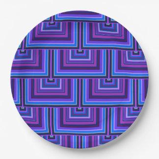 Prato De Papel Escalas quadradas azuis e roxas