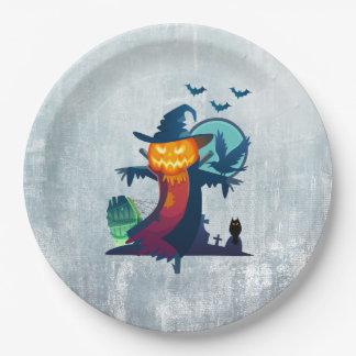 Prato De Papel Espantalho do Dia das Bruxas com bastões corvo e