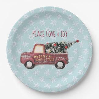 Prato De Papel Feliz Natal do caminhão do brinquedo do amor & da