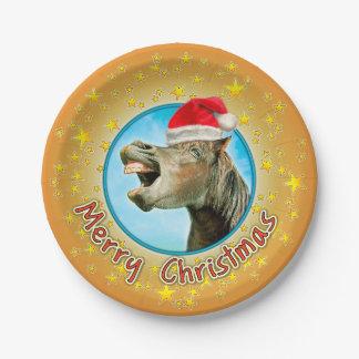 Prato De Papel Feliz Natal do cavalo de riso