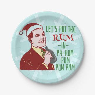 Prato De Papel Feriado retro do adulto do rum da festa de Natal