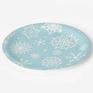 Prato De Papel Feriados brancos azuis do Natal do floco de neve