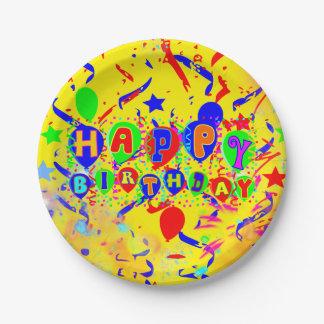 Prato De Papel Fontes do aniversário do divertimento