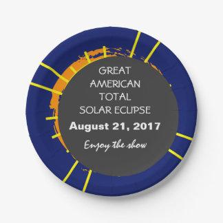 Prato De Papel Grande eclipse solar total americano customizável
