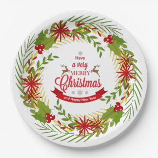 Prato De Papel Grinalda do Natal com as placas de papel do visco