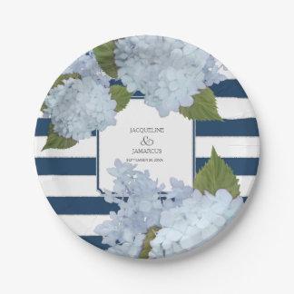 Prato De Papel Grinalda floral do Hydrangea listrado azul pintado