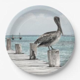 Prato De Papel HAMbyWG - placa de papel - pelicanos na doca