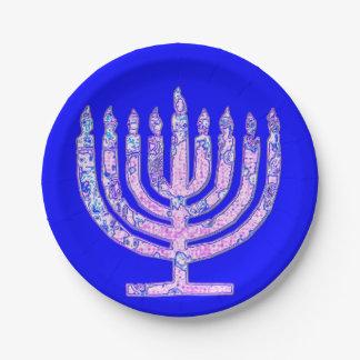 Prato De Papel Hanukkah azul Menorah 4Nicky