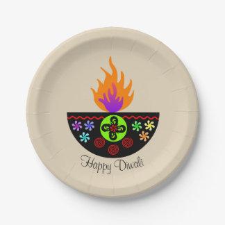 Prato De Papel Lâmpada colorida Diya de Diwali