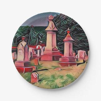 Prato De Papel Lápides iluminadas do cemitério
