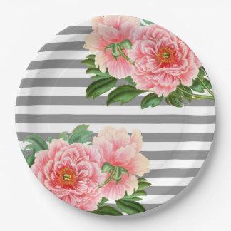 Prato De Papel Linhas cor-de-rosa do cinza das peônias