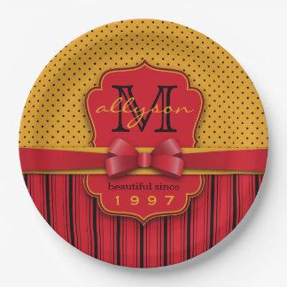 Prato De Papel Listras amarelas retros do vermelho das bolinhas