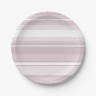 Prato De Papel Listras do rosa de quartzo cor-de-rosa