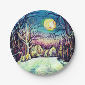 Prato De Papel Lua cheia silenciosa do inverno da noite