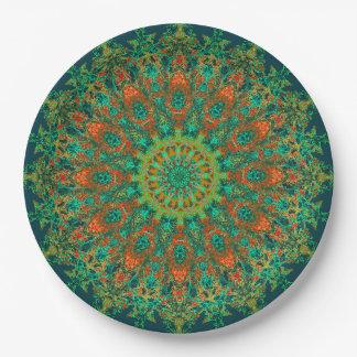 Prato De Papel Mandala verde delicada de Bohostyle