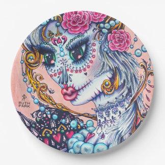 Prato De Papel Menina grande do olho com rosas e placas das