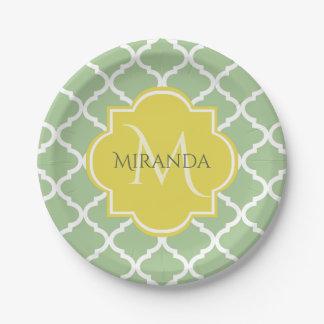 Prato De Papel Monograma conhecido amarelo verde Pastel chique de