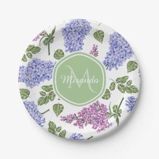 Prato De Papel Monograma verde Pastel floral do Lilac chique da
