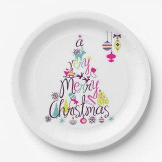Prato De Papel Muito placas de papel do Feliz Natal