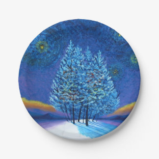 Prato De Papel Natal do estilo de Van Gogh
