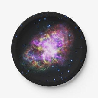 Prato De Papel Nebulosa de caranguejo cor-de-rosa
