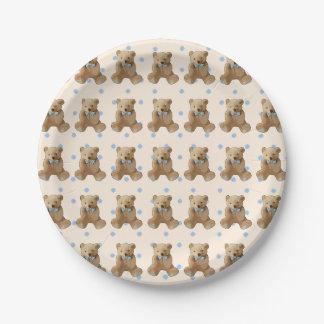 Prato De Papel O azul do urso de ursinho e a polca de Tan