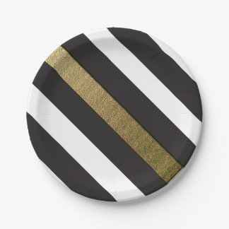 Prato De Papel O ouro preto e branco listra fontes do partido