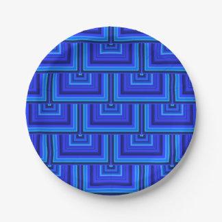 Prato De Papel O quadrado das listras azuis escala o teste padrão