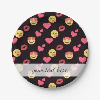 Prato De Papel os corações doces bonitos do amor do emoji beijam