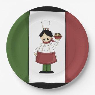 Prato De Papel Os espaguetes jantam a placa de papel do