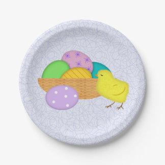 Prato De Papel Ovos da páscoa e placas de papel do pintinho