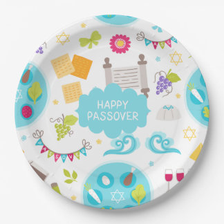 Prato De Papel Passover feliz moderno colorido
