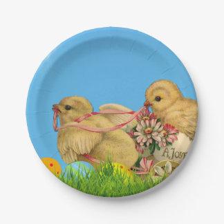 Prato De Papel Pintinhos da páscoa da primavera