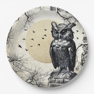 Prato De Papel Placa de papel assombrada da coruja do Dia das