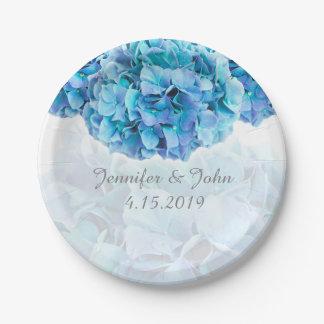 Prato De Papel Placa de papel da coleção azul do casamento do