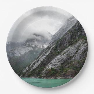 Prato De Papel Placa de papel da montanha de pedra cinzenta