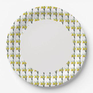 Prato De Papel Placa de papel - Daffodils na borda
