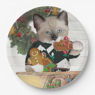 Prato De Papel Placa de papel do gatinho do biscoito do Natal