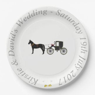 Prato De Papel Placa de papel Wedding com cavalo & carruagem