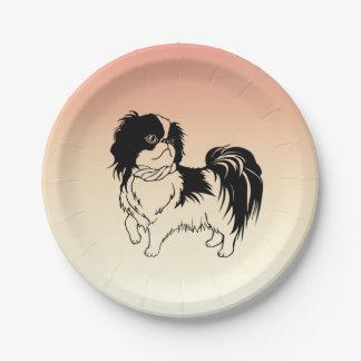 Prato De Papel Placas de papel alaranjadas do cão preto e branco