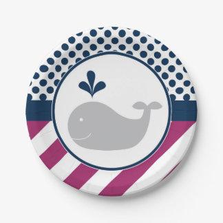 Prato De Papel Placas de papel da baleia roxa