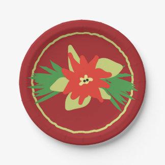 Prato De Papel Placas de papel da flora do Natal da poinsétia
