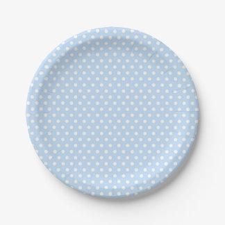 Prato De Papel Placas de papel das bolinhas brancas azuis