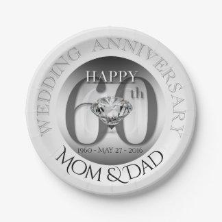 Prato De Papel Placas de papel de aniversário de casamento do