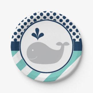 Prato De Papel Placas de papel de baleia azul