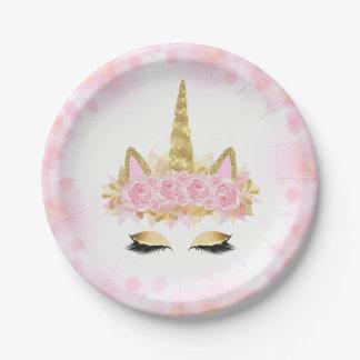 Prato De Papel Placas de papel do ouro bonito do rosa da cara do