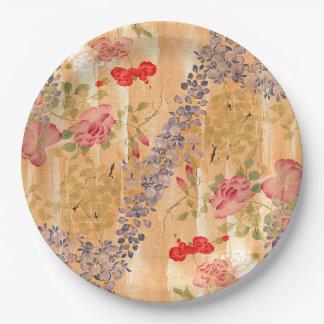 Prato De Papel Placas de papel florais das flores cor-de-rosa