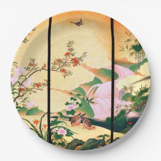 Prato De Papel Placas de papel florais do rosa asiático das