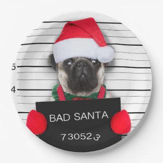 Prato De Papel Pug do Natal - cão do mugshot - pug do papai noel